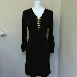 EUC Michael Kors Brown Gold Lace Up Dress Sz L